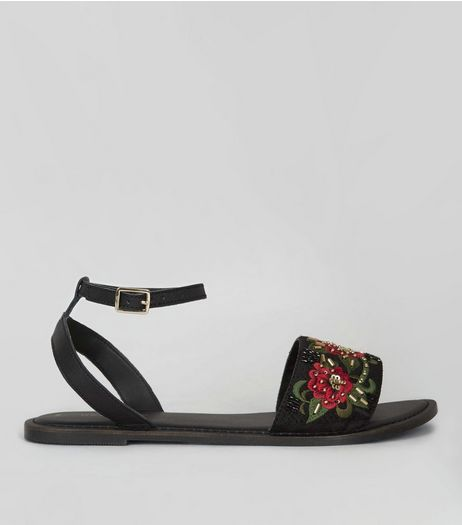 Black Leather Floral Embellished Sandals | New Look