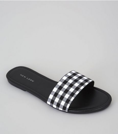 Black Gingham Mules | New Look