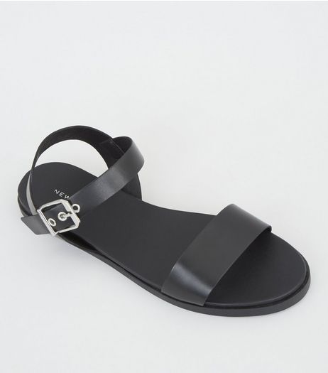Black Leather Buckle Strap Sandals | New Look