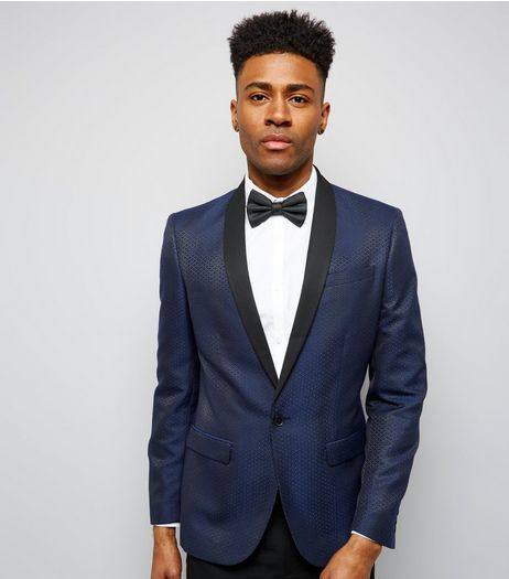 Navy Jacquard Tux Blazer | New Look