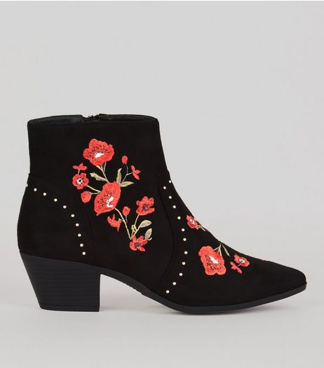 Black Suedette Floral Embroidered Western Boots | New Look