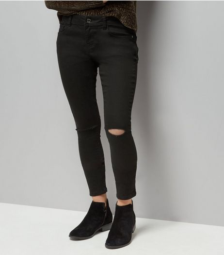 Teens Black Ripped Knee Skinny Ankle Grazer Jeans | New Look