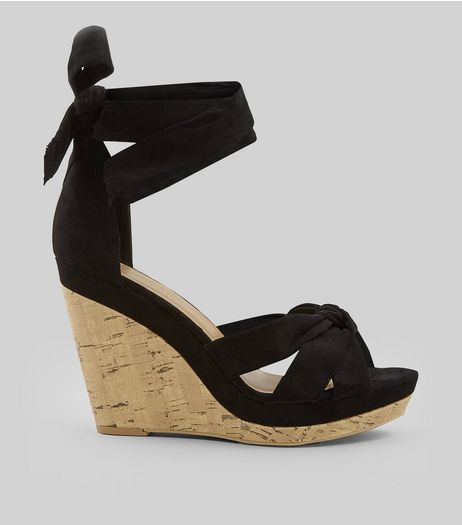 Black Suedette Tie Up Ankle Cork Wedge Heels | New Look