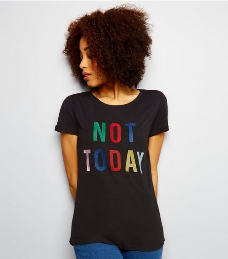 JDY Black Slogan Print T-Shirt  | New Look