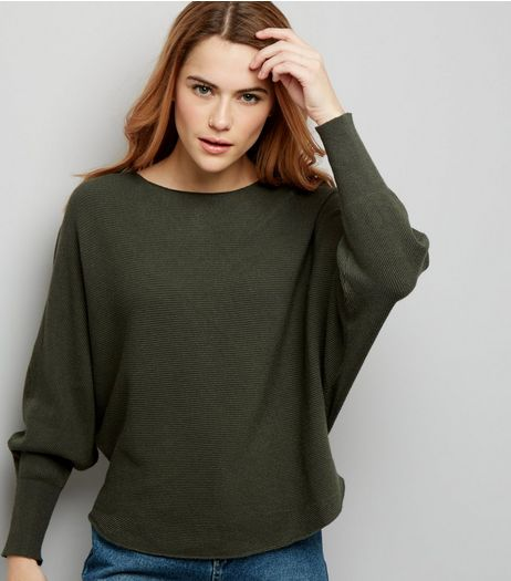 Apricot Olive Green Fine Ribbed Batwing Sleeve Jumper  | New Look