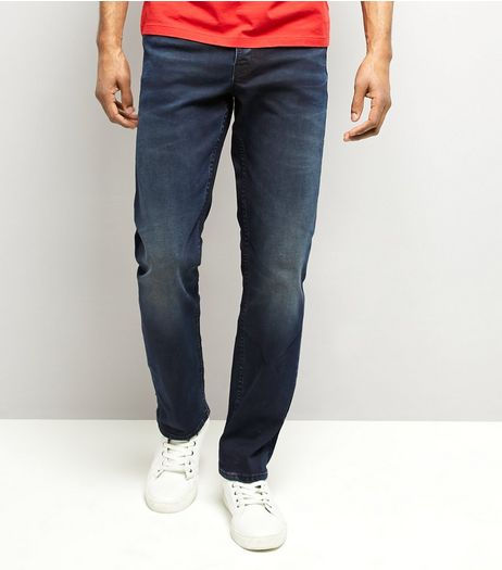 Navy Dark Wash Straight Leg Jeans | New Look