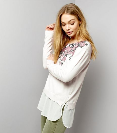 Apricot Cream Floral Print Long Sleeve Jumper  | New Look