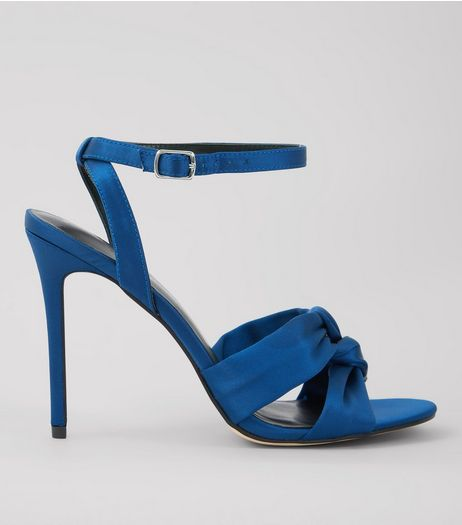 Navy Satin Knot Strap Heeled Sandals | New Look