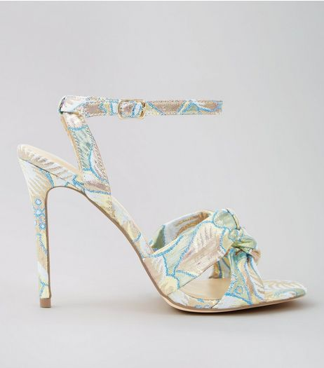 Pastel Blue Floral Brocade Knot Strap Heeled Sandals | New Look