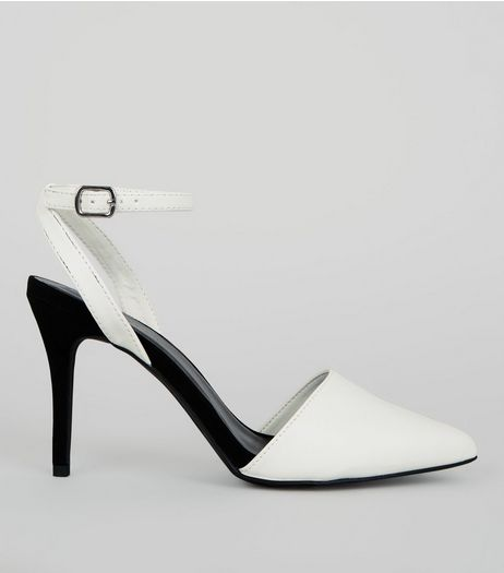 White Colour Block Pointed Ankle Strap Heels | New Look