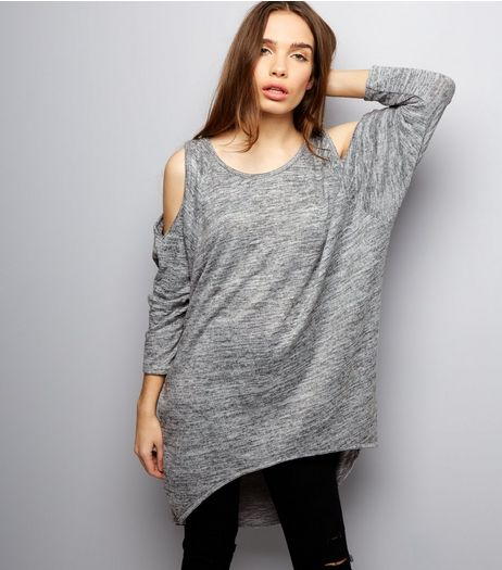 Apricot Mid Grey Marl Cold Shoulder T-Shirt Dress | New Look