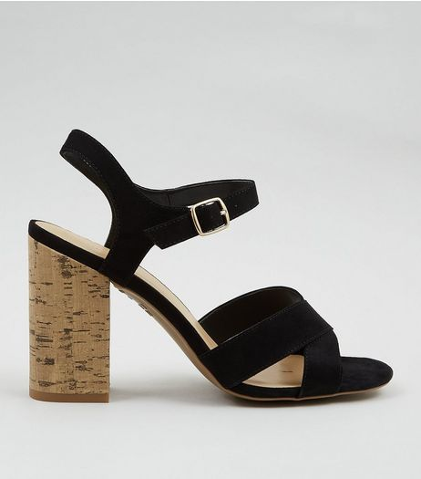 Black Suedette Cross Strap Cork Block Heeled Sandals | New Look
