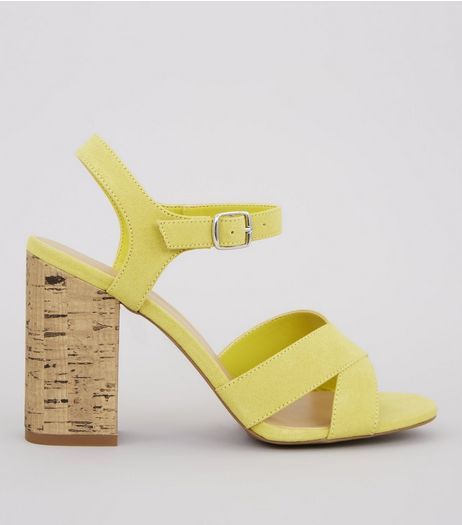 Yellow Suedette Cross Strap Cork Block Heeled Sandals | New Look