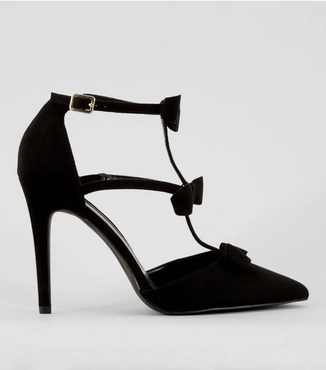 Black Suedette Bow Strap Heeled Sandals | New Look