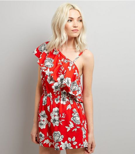 Petite Red Floral One Shoulder Frill Trim Playsuit | New Look