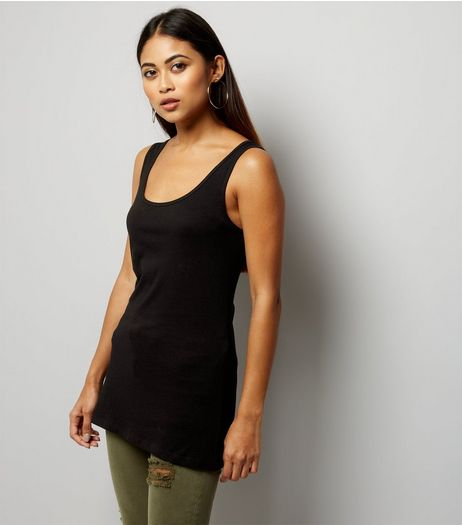 Petite Black Scoop Neck Vest | New Look