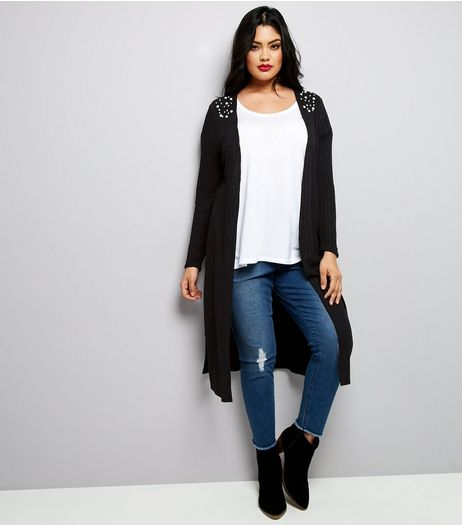 Curves Black Ribbed Beaded Midi Cardigan | New Look