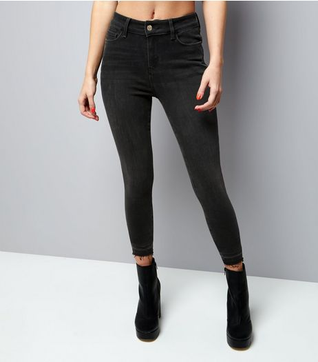 Petite Black Raw Hem Skinny Shaper Jeans | New Look