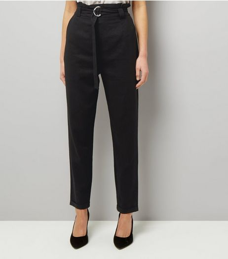 Tall Black D Ring Belted Trousers | New Look