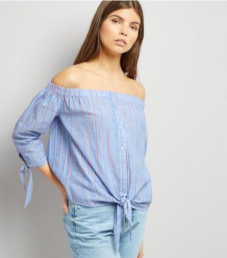 Tall Blue Stripe Tie Front Bardot Neck Top | New Look