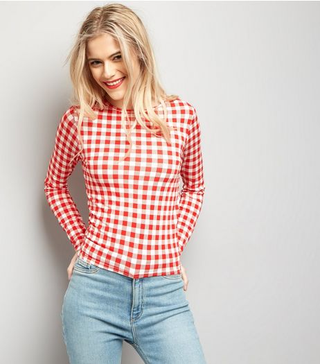 Red Gingham Long Sleeve Top | New Look