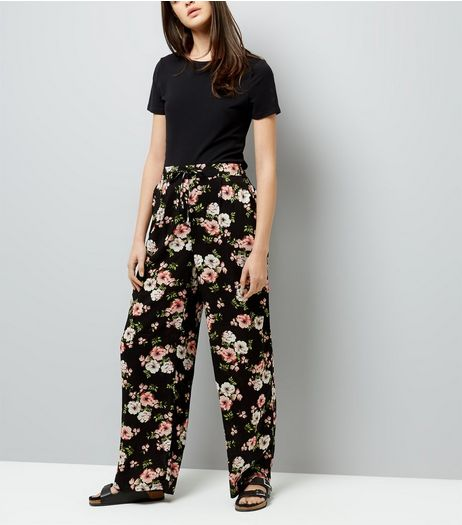 Tall Black Floral Print Wide Leg Trousers | New Look