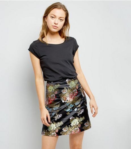 Tall Black Floral Jacquard Mini Skirt | New Look