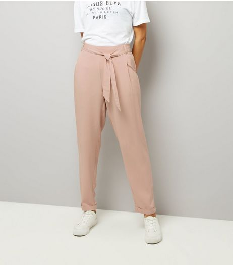 Tall Pink Tie Waist Trousers | New Look