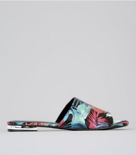Black Floral Print Metal Trim Mules | New Look
