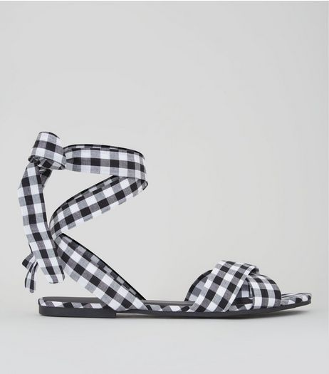 Black Gingham Ankle Tie Sandals | New Look