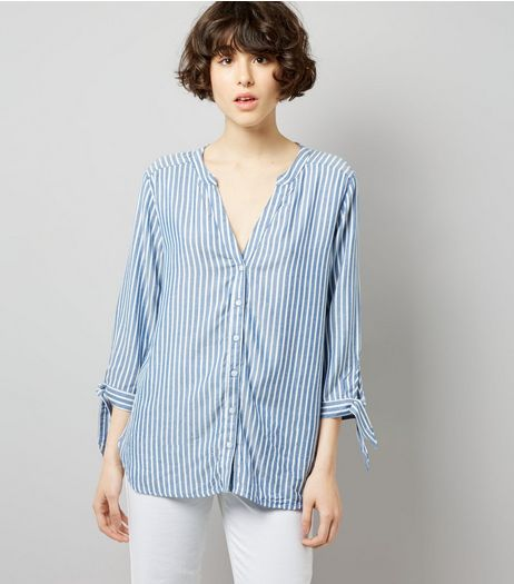 JDY Blue Stripe Tie Sleeve Shirt  | New Look