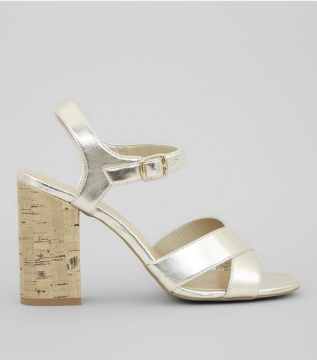 Gold Metallic Cross Strap Cork Block Heeled Sandals | New Look
