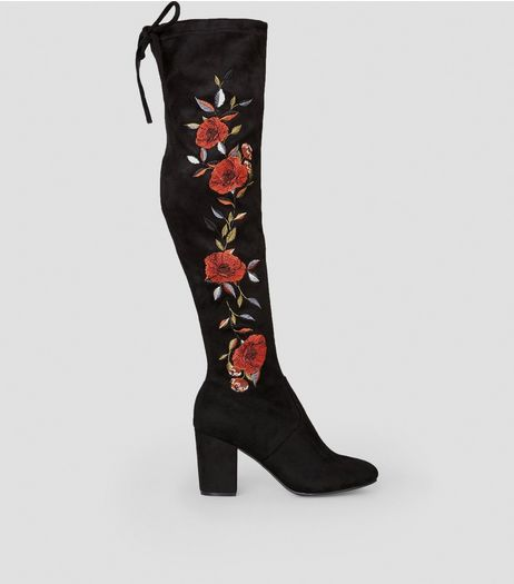 Black Suedette Floral Embroidered Over the Knee Boots | New Look