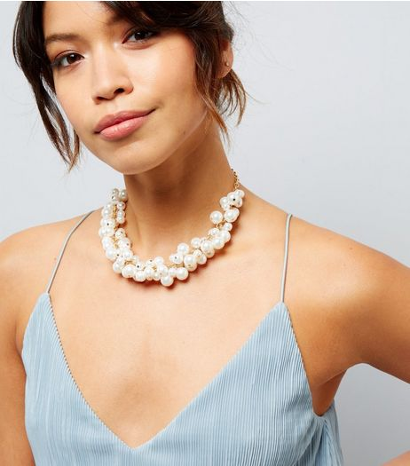 Cream Pearl Cluster Necklace | New Look