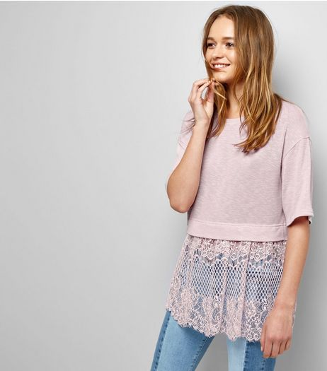 Lilac Lace Hem T-Shirt | New Look