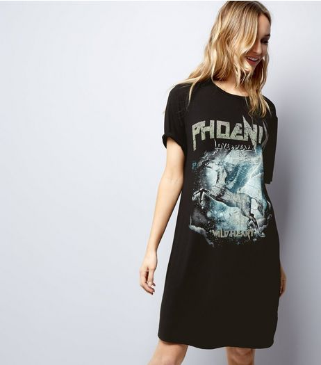 Black Unicorn Rock T-Shirt Dress | New Look