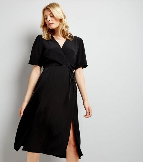 Black Wrap Front Frill Sleeve Midi Dress | New Look