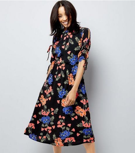 Black Tropical Floral Print Tie Sleeve Midi Dress | New Look