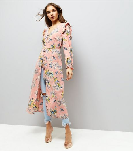 Pink Floral Print Gathered Shoulder Button Front Dress | New Look