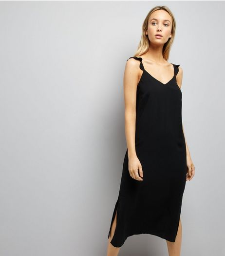 Black Frill Trim Strap Slip Dress | New Look