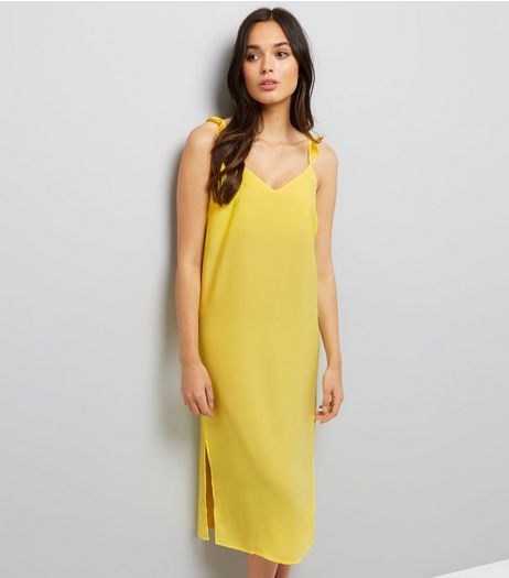 Yellow Frill Trim Strap Slip Dress | New Look