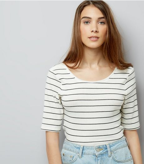JDY Black Stripe 1/2 Sleeve Top | New Look