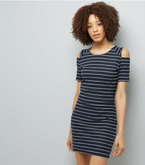 JDY White Stripe Cold Shoulder Dress  | New Look