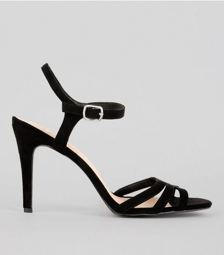 Wide Fit Black Comfort Suedette Strappy Heeled Sandals | New Look