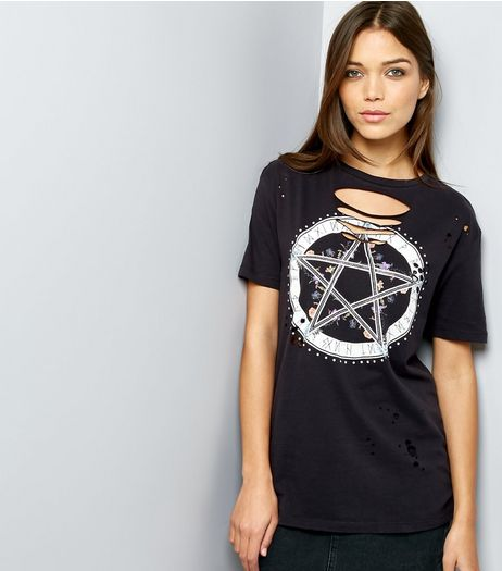 Black Cut Out Star Print Short Sleeve T-Shirt  | New Look
