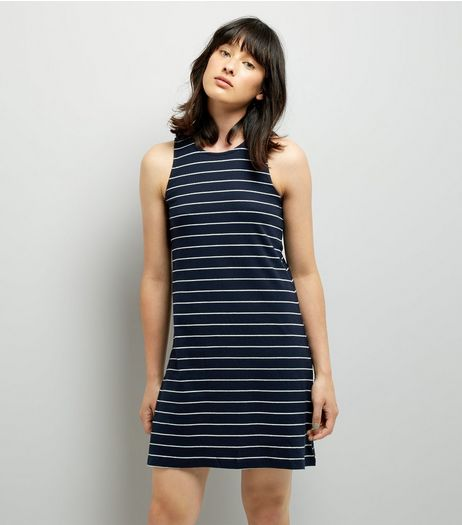 JDY Blue Stripe Sleeveless Dress | New Look