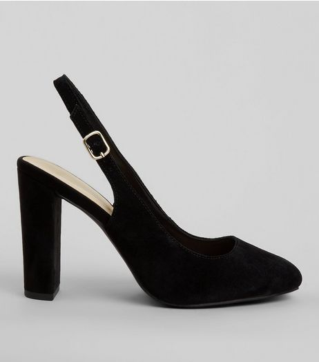 Wide Fit Black Suede Sling Back Heels | New Look