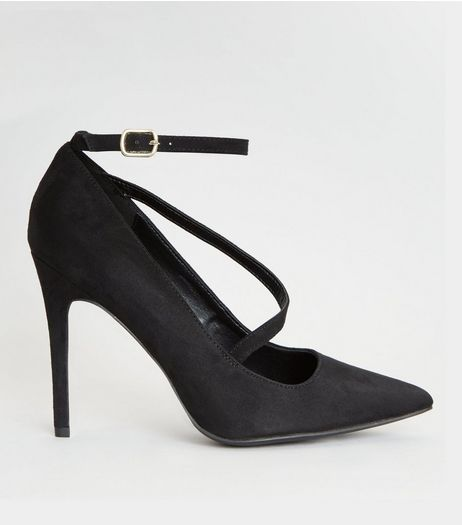 Wide Fit Black Asymmetric Strap Pointed Heels | New Look