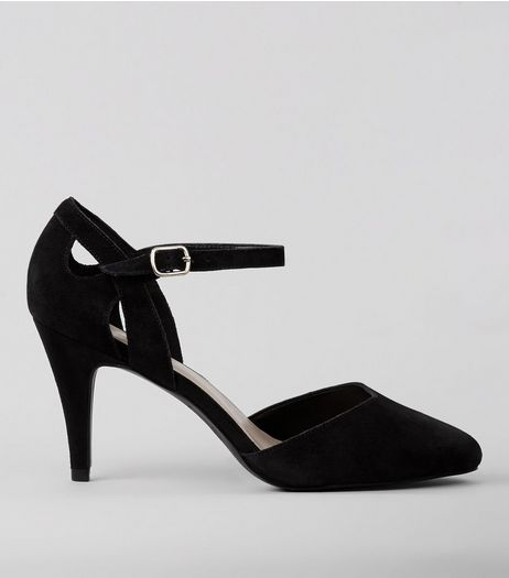 Wide Fit Black Suede Mid Heels | New Look