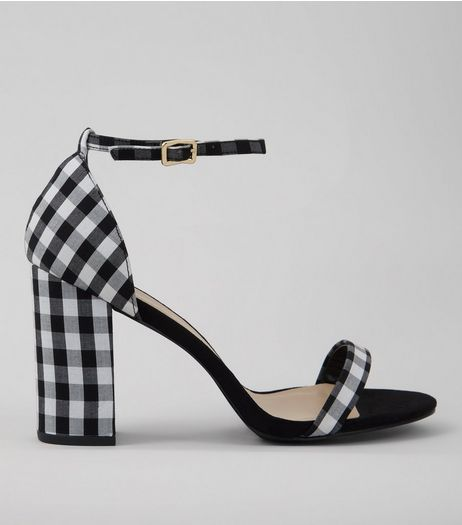 Wide Fit Black Gingham Ankle Strap Heels | New Look